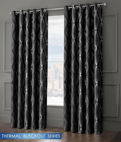 GEOMETRIC AZTEC LIVINGROOM BEDROOM THERMAL BLACKOUT RING TOP EYELET CURTAINS BLACK